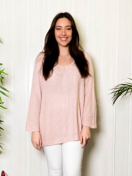 Pull fin grande taille shiny rose pale zoom