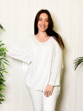 Pull fin grande taille shiny rose blanc zoom