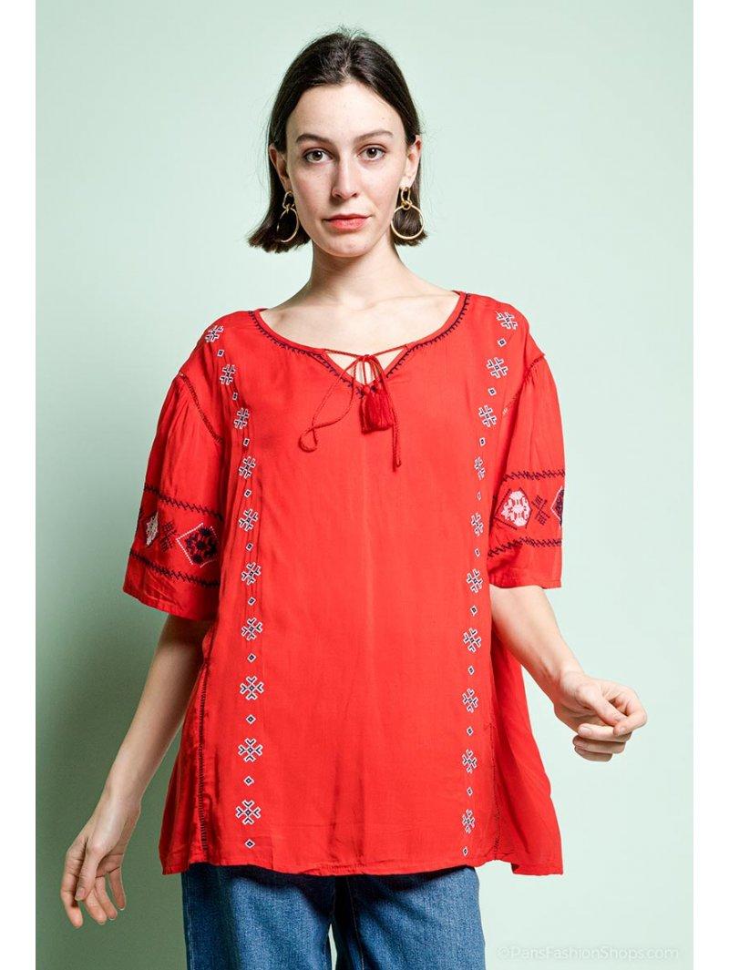 Tania blouse bohème grande taille rouge face
