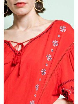 Tania blouse bohème grande taille rouge motif