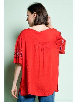 Tania blouse bohème grande taille rouge dos