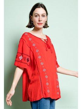 Tania blouse bohème grande taille rouge profil