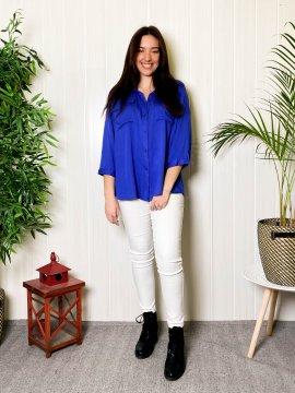 Anissa chemise fluide grande taille bleu face