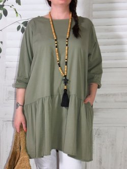 longue tunique ou robe en coton grande taille