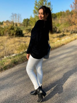 Stephanie pull duveteux grande taille noir dos extérieur