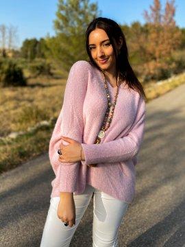 Stephanie pull duveteux grande taille rose zoom extérieur