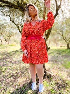 Bérénice robe grande taille imprimé fleuri rouge face extérieur