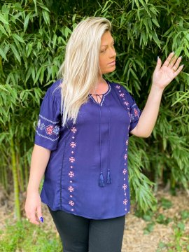 Tania blouse bohème grande taille bleu face