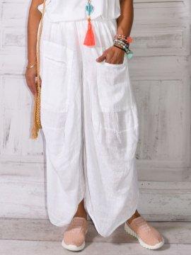 Tanya, pantalon sarouel lin blanc zoom