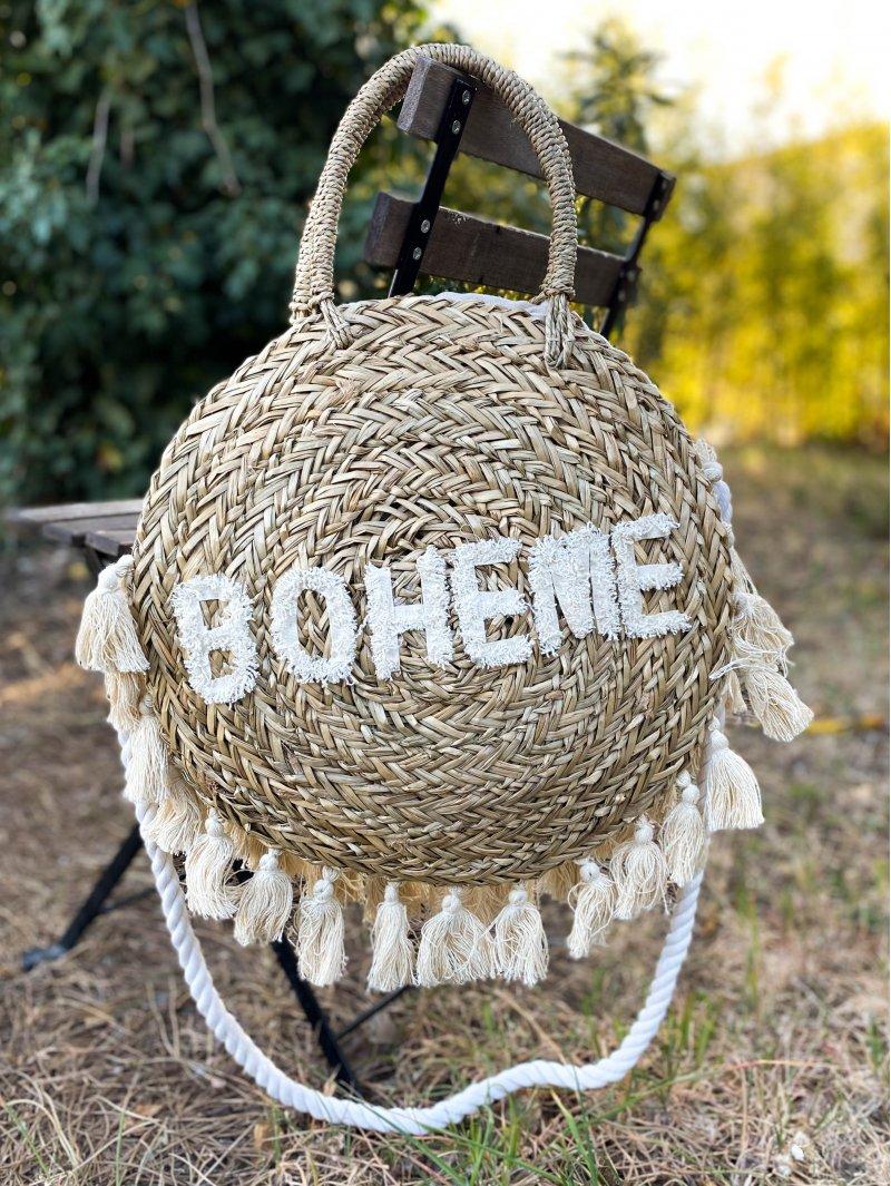 Panier rond paille brodé bohème Maison Boho