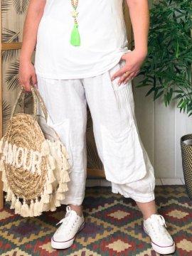 Pantalon Lagenlook en lin grande taille Kalimbaka