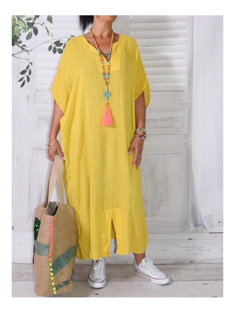 Gilliane, kaftan gaze de lin jaune devant