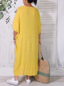 Gilliane, kaftan gaze de lin jaune dos