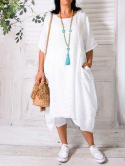 Floride, robe en lin, Lagenlook - blanc