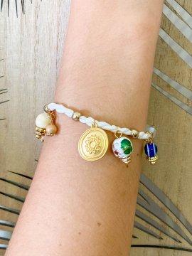 Bracelet charms blanc bohème