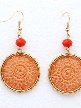 Boucles d oreilles macramé orange