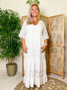 Maddy, robe longue dentelle, grande taille BLANCHE