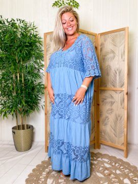 Maddy, robe longue dentelle, grande taille bleu