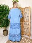Maddy, robe longue dentelle, grande taille bleu dos