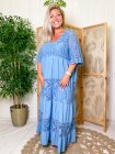 Maddy, robe longue dentelle, grande taille bleu face