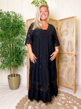 Maddy, robe longue dentelle, grande taille noir