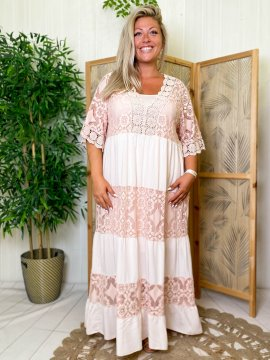 Maddy, robe longue dentelle, grande taille rose