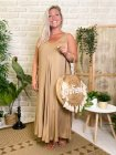 Robe longue Angelina, grande taille camel face