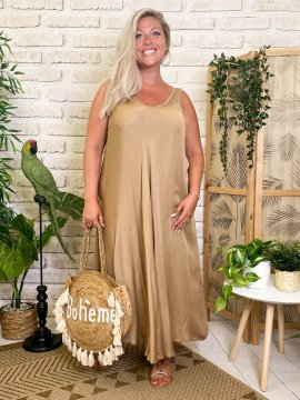 Robe longue Angelina, grande taille camel devant