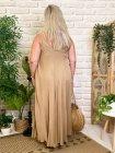 Robe longue Angelina, grande taille camel dos