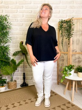 Pull fin Cindy, grande taille noir face