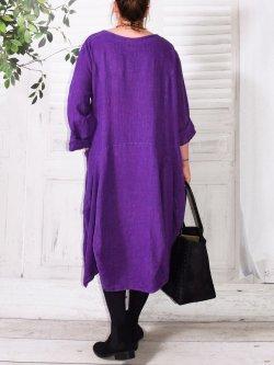 Margot, robe originale en lin - violet