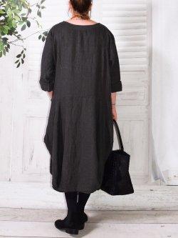 Margot, robe originale en lin - anthracite