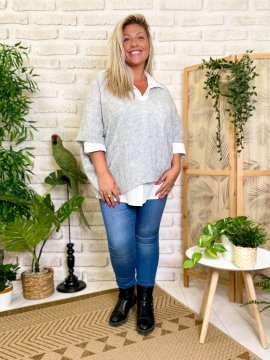 Pull Eleana, grande taille gris face