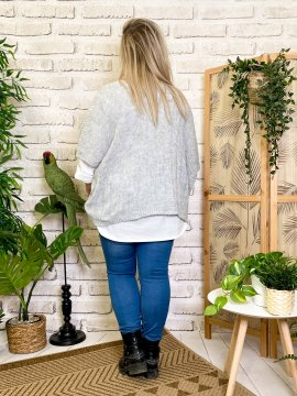 Pull Eleana, grande taille gris dos