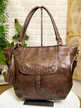 Sac Jeanne, coutures apparentes taupe face
