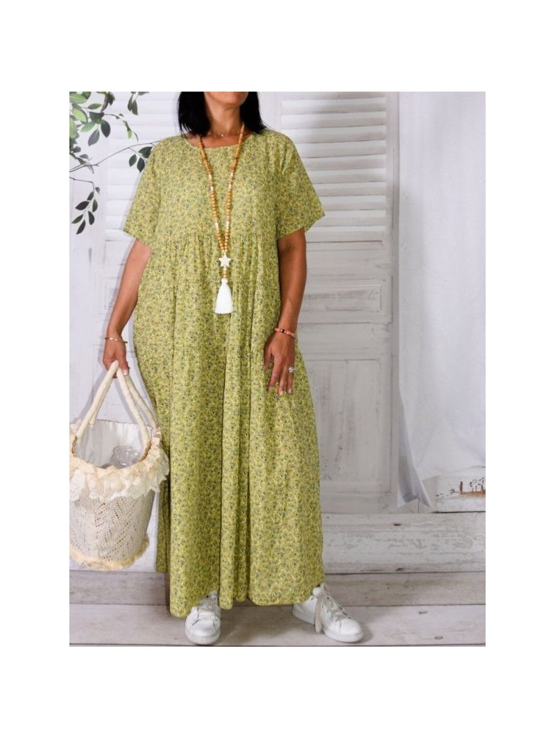 Marjolaine, longue robe bohème liberty vert face