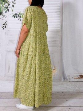 Marjolaine, longue robe bohème liberty vert dos
