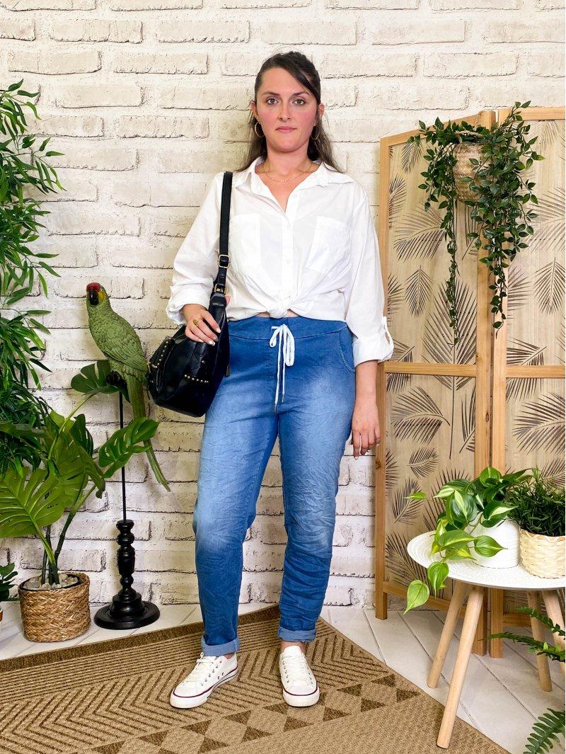 Zou, jegging jean froissé, grande taille