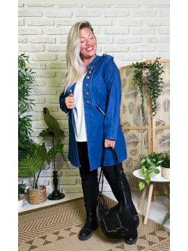 Adelie, redingote jean grande taille profil
