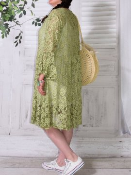Adélie, robe dentelle bohème, Provencal Days vert dos