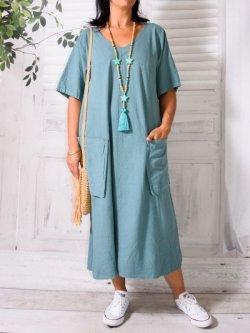 Bali, robe en lin grande taille, Lagenlook - vert d'eau