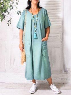 Bali, robe en lin grande taille, Lagenlook - turquoise
