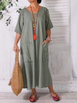 Bali, robe en lin grande taille, Lagenlook - kaki