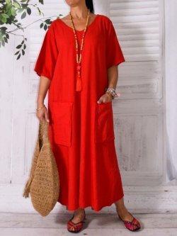 Bali, robe en lin grande taille, Lagenlook - rouge