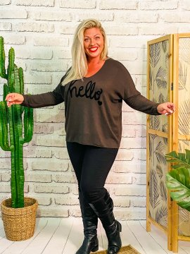 Pull Hello, grande taille Lagenlook taupe