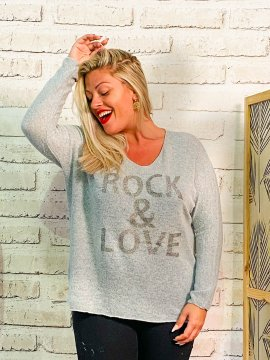 Pull Rock & Love, grande taille gris