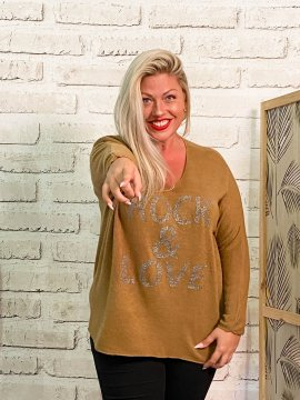 Pull Rock & Love, grande taille camel face