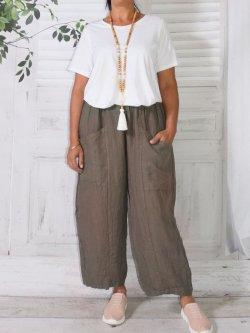 Hammamet, pantalon lin - taupe