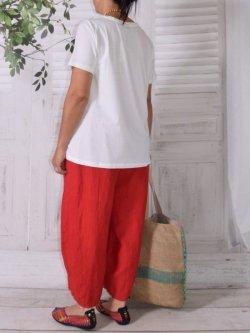 Hammamet, pantalon lin - rouge