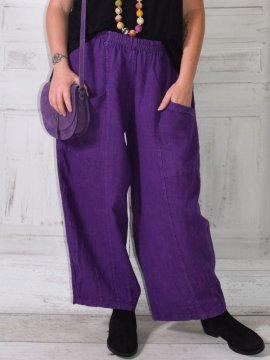 Hammamet, pantalon lin violet zoom